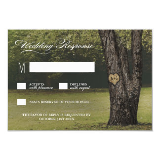 Rustic Initials Old Oak Tree Wedding RSVP Cards