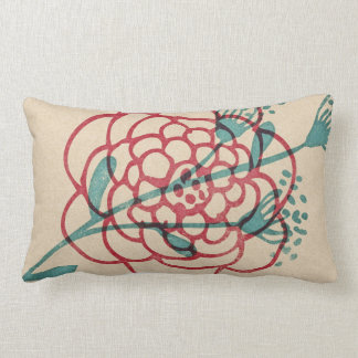rustic inky graphic floral pillow