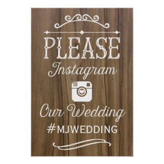 Rustic Instagram Hashtag Sign  | Wedding Decor