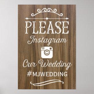 Rustic Instagram Hashtag Sign  | Wedding Decor Poster