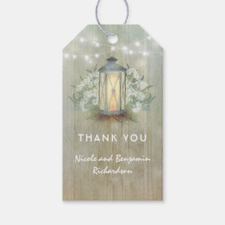 Rustic Iron Lantern and Baby's Breath Barn Wedding Gift Tags