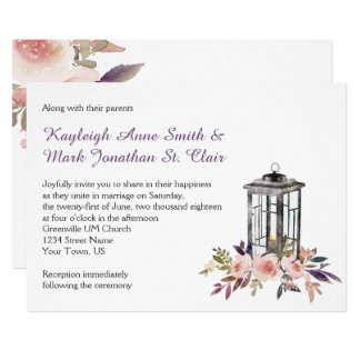 Rustic Iron Lantern and Flowers Invitations