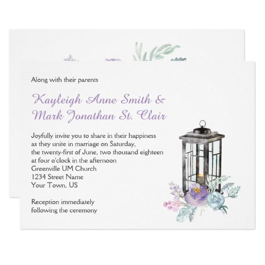 Rustic Iron Lantern Lavender Blue Pink Flowers Card
