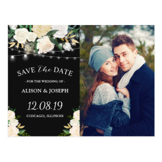Rustic Ivory Gold Floral Save the Date Photo Postcard