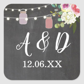 Rustic Jars Chalk Initials Lights Stickers Label