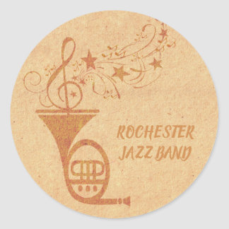Rustic Jazz Band Vintage French Horn Musical Notes Classic Round Sticker