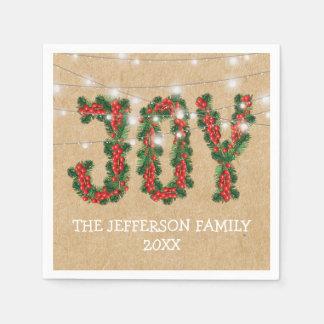 Rustic Joy Christmas Holiday Wreath Disposable Napkin