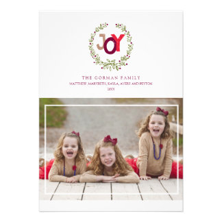 Rustic Joy Wreath 2014 Holiday Photo Greeting Personalized Announcements