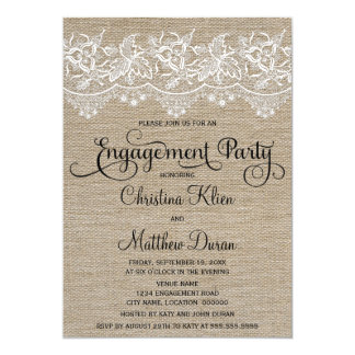 Rustic Jute and Lace Engagement Party Card