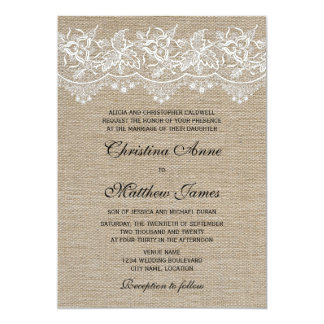 Rustic Jute and Lace Wedding 5x7 Paper Invitation Card
