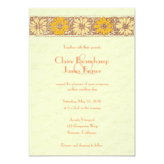 Rustic Jute Flowers Wedding Card