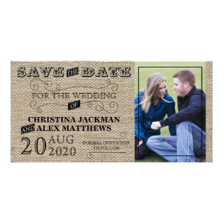 Rustic Jute Look Save The Date Photo Card