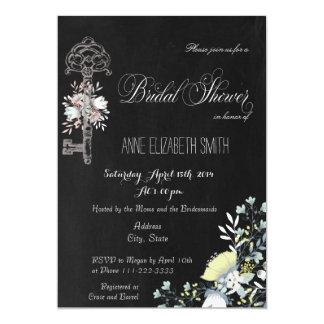 Rustic Key Floral Dark Bridal Shower Invitation