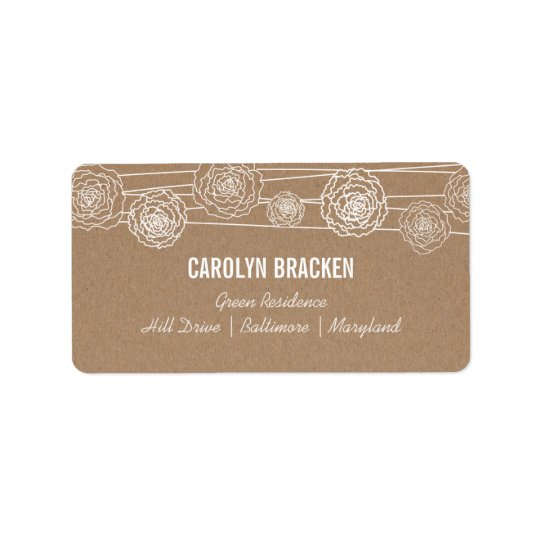 Rustic Kraft Brown Paper Flowers Wedding Address Label