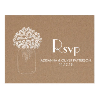 Rustic Kraft Brown Paper Flowers Wedding RSVP Postcard