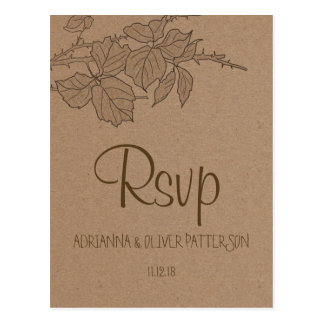 Rustic Kraft Brown Paper Leaves Wedding RSVP Postcard