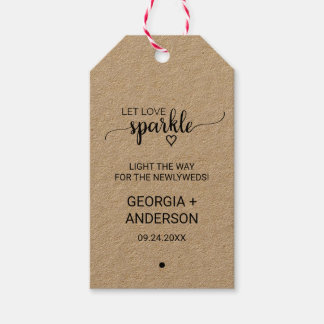 Rustic Kraft Calligraphy Wedding Sparkler Tags