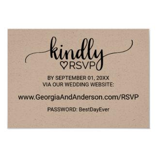 Rustic Kraft Calligraphy Wedding Website RSVP Card
