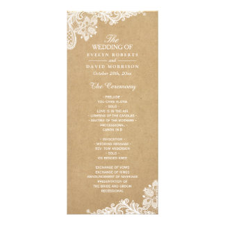 Rustic Kraft Classy White Lace Wedding Program Custom Rack Card
