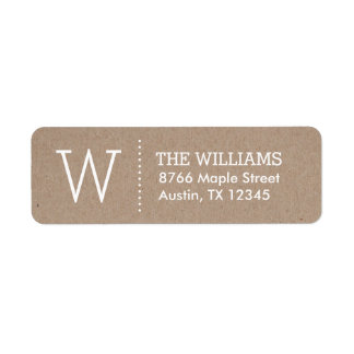 Rustic Kraft Custom Monogram Return Address Label