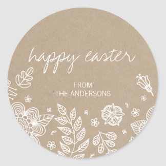 Rustic Kraft Floral Happy Easter Round Sticker