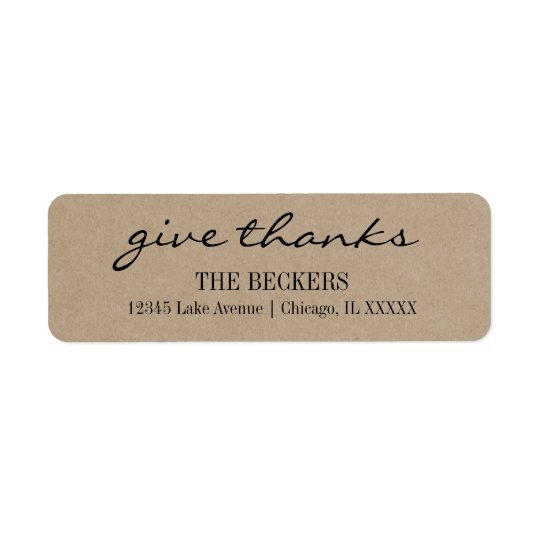 Rustic Kraft Give Thanks Holiday Address Label