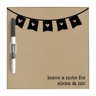 Rustic Kraft Heart Bunting Roommates Message Board Dry Erase Whiteboards