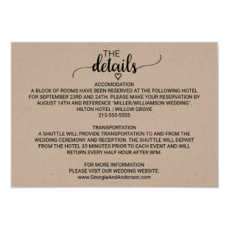Rustic Kraft Modern Calligraphy Wedding Details Card