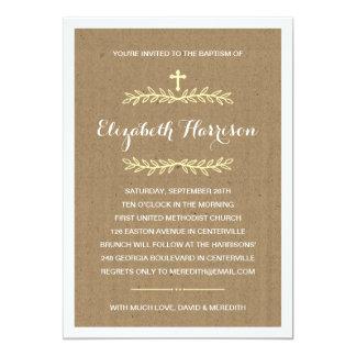 Rustic Kraft Paper | Baptism/Christening 13 Cm X 18 Cm Invitation Card
