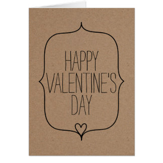 Rustic Kraft Paper Cute Heart Happy Valentines Day Card