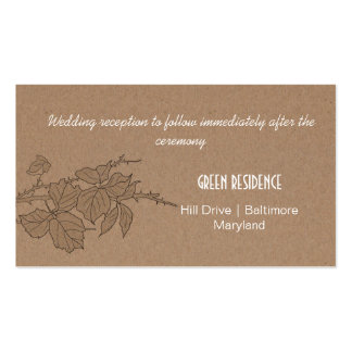 Rustic Kraft Paper Fall Leaves Wedding Insert Pack Of Standard Business Cards