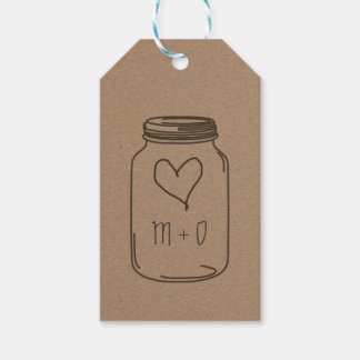 Rustic Kraft Paper Mason Jar Heart Wedding