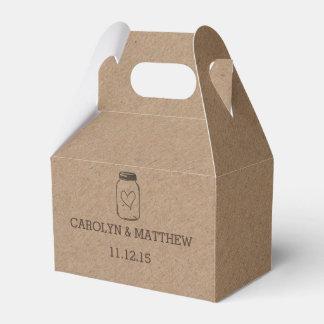 Rustic Kraft Paper Mason Jar Heart Wedding Favour Box