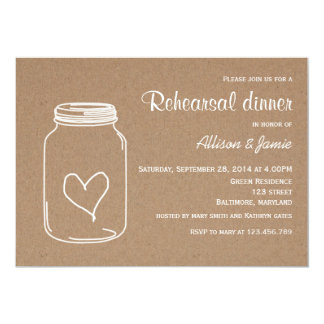 Rustic Kraft Paper Masonjar Heart Rehearsal Dinner Card