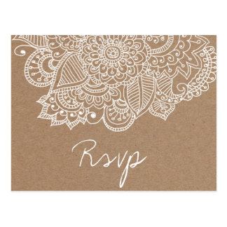Rustic Kraft Paper Paisley Wedding SVP Postcard