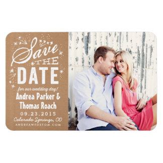 Rustic Kraft Paper Photo Save the Date Magnet