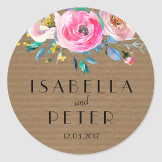 Rustic Kraft Paper Pink Floral Wedding Sticker Tag