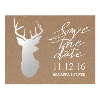 Rustic Kraft Paper Silver Antler Save The Date Postcard