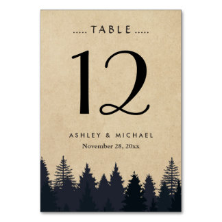 Rustic Kraft Pine Tree Forest Wedding Table Number