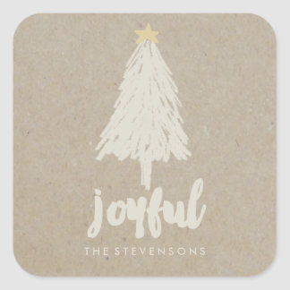 Rustic Kraft Pine Tree | Holiday Stickers