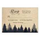 Rustic Kraft Pine Trees Winter Wedding RSVP Card