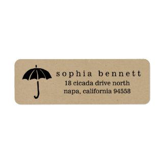 Rustic Kraft Umbrella Baby Shower Return Address Label