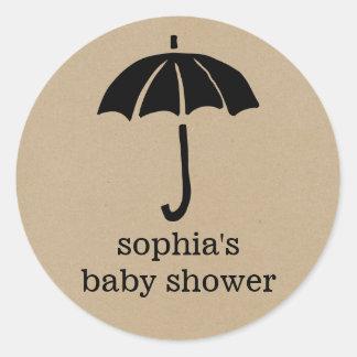 Rustic Kraft Umbrella Neutral Baby Shower Classic Round Sticker
