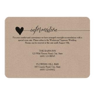 Rustic Kraft Wedding enclosure, heart calligraphy Card