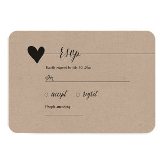 Rustic Kraft Wedding RSVP, heart calligraphy Card