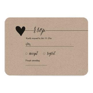 Rustic Kraft Wedding RSVP, heart calligraphy Card