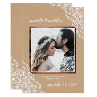 Rustic Kraft Wood & Lace Photo Engagement Party Card