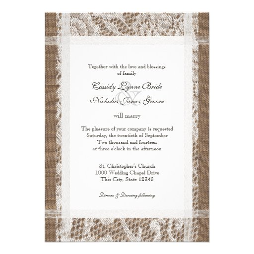 Rustic Lace and Burlap 7x5 Wedding Custom Announcements