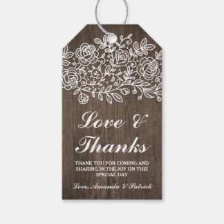 Rustic Lace and Country Wood Wedding Thank You Gift Tags