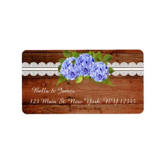 Rustic Lace Blue Hydrangea Return Address Labels